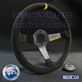 ✪ Sparco Style 350mm Black Suede Leather Deep Dish Drift Racing Steering Wheel
