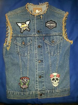 Harley Davidson patches Levi's cut-off vest with new patches & lace size 38