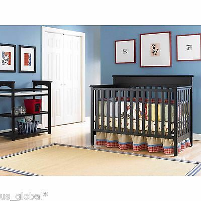 Convertible Crib Set Espresso 4-in-1 Changer Nursery Baby Toddler Bed Furniture