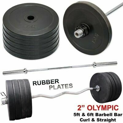 "2"" Olympic Weight Plates 15kg Disc Set Barbell Bar 5ft 6ft Gym Training"