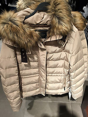 e5551ec6 ZARA NEW WOMAN SAND HOODED PUFFER JACKET WITH BUCKLE XS-XL Ref. 8073/225