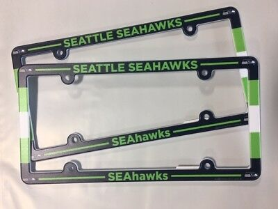 Lot of 2 Seattle Seahawks Car Truck License Plate Frames NEW - THIN PROFILE