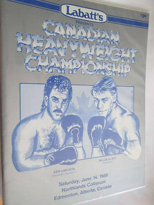 Lakusta Vs De Wit June 14, 1986 Alberta Heavyweight Boxing Program- Labatt's