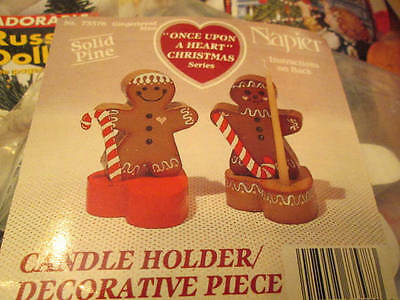 Napier Gingerbread Man Solid Pine Candle Holder/Decorative Pieces Ready To Paint