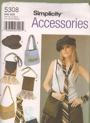 Simplicity Accessories Sewing Pattern 5308 Bags Purse Tie CD Case Hats