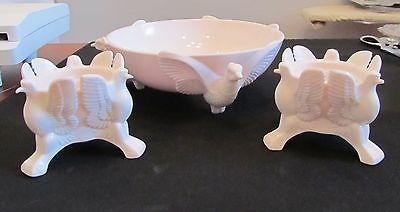 Vintage Jeannette Shell Pink Pheasant Bowl Eagle Candle Holders Exc Condition