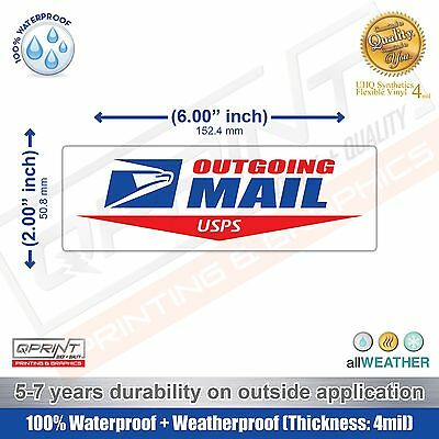 "USPS Logo 6"" x 2"" Outgoing Mail Sign Carrier Decal Sticker US Postal Vinyl Label"