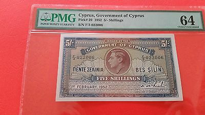 cyprus 1952 5 shillings PMG UNC good embossing original