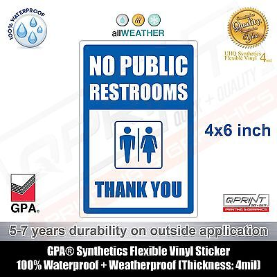 (Blue) NO PUBLIC RESTROOMS / Restroom For Customers Only / Store Business Sign
