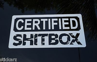Funny Certified Shitbox Sticker Vinyl Car Bumper Decal 4x4 Hoon