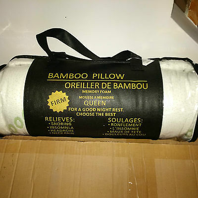 Bamboo Pillow (Queen Size) Memory Foam Firm - Brand New With Price Tag!