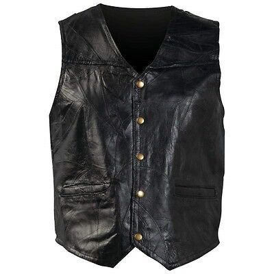 New Mens Black Genuine Leather VEST Motorcycle Biker Fully Lined Pocket MC Club