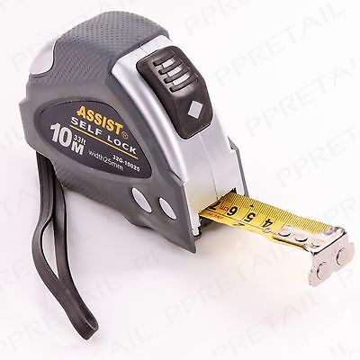 TRADE QUALITY ASSIST 10m LARGE TAPE MEASURE + SELF LOCKING BLADE Metric/Imperial