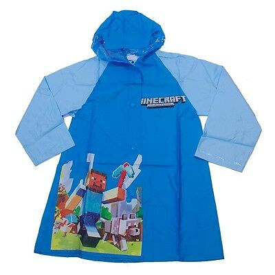 Kids Boys Hoodie Raincoat Poncho MC Min-e Craft Waterproof Rainwear Sz Hooded