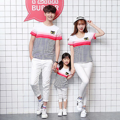 2016 Family fitted kids Men Women Couple stripe Cotton T-shirt lovers clothing
