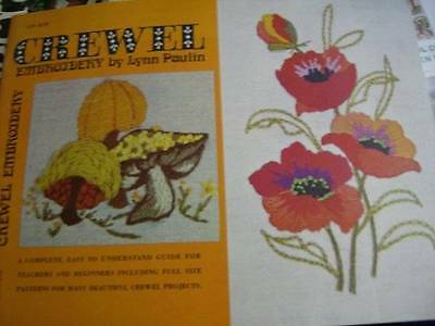 Crewel Embroidery Booklet By Lynn Paulin-Flowers/Mushrooms/Elephant/Butterfly/Ow