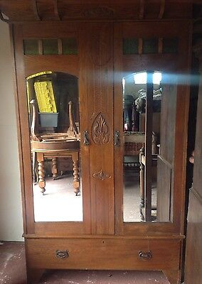 Arts & Crafts Double Wardrobe. Oak . Drawer. Mirrored Front