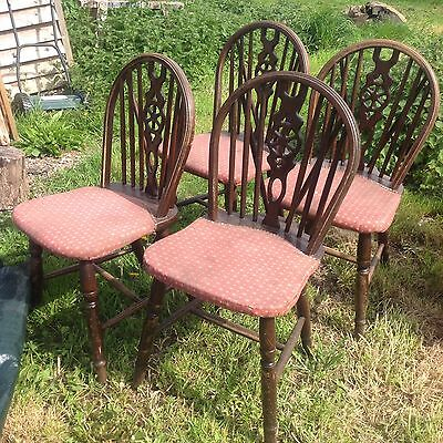 Set Of 4  Wheel Back Pub Chairs. Dining. For Restoration