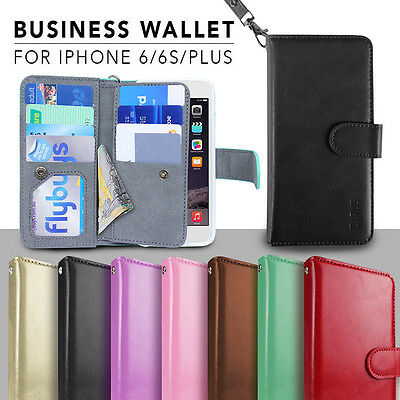 iPhone 6 6s Plus Case for Apple Genuine business Wallet Leather Cover