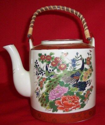 Vintage Hand Painted SATSUMA Peacock Teapot w/ Bamboo Handle Japan