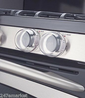 NEW! Safety 1st Clear View Stove Knob Covers 5 Count Baby Locks Reusable 3DAYSHP