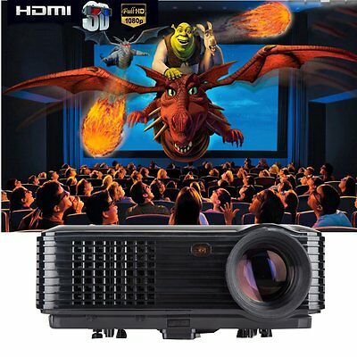 3200 Lumens HD 1080P LED Video Projector 3D  Home Theater Cinema TV/USB/VGA