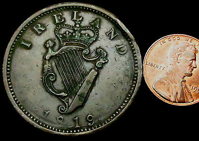 R410: 1819 Irish Large Copper Penny - Bell 1938 and listed RARE in 2013 guide