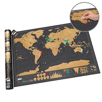 Deluxe Scratch Off Map Black World Map Poster Luckies Personal Travel Log+ Box
