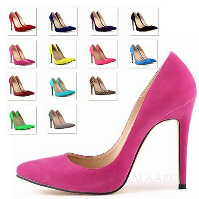 Womens Pumps high Stiletto Heel Party Mega Heels faux Leather Shoes Size 13-4
