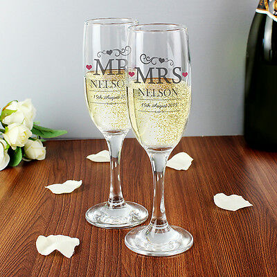Personalised Mr&Mrs Pair Of Flutes Champagne Glasses Set Wedding Gift Boxed