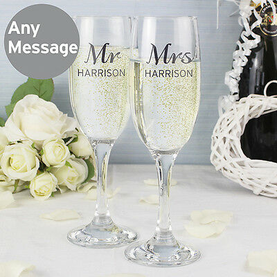 Personalised Pair Of Flutes Champagne Glasses Mr&Mrs Gift Boxed Set Wedding