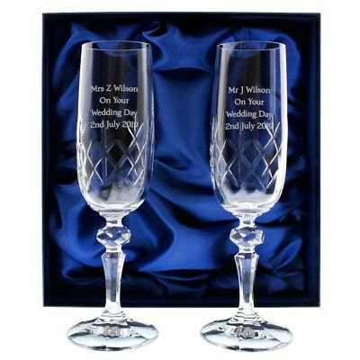 Personalised Crystal Pair Of Champagne Flutes Glasses Set Wedding Gift Boxed