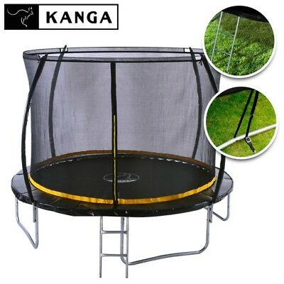 KANGA 10ft Trampoline With Enclosure, Net, Ladder, Winter Cover & Shoe Bag