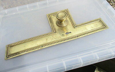 Vintage Brass Door knob Handle Backing Finger Push Plate Beading Victorian Style