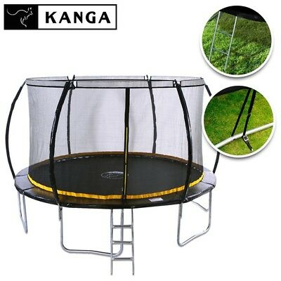 KANGA 12ft Trampoline With Enclosure, Net, Ladder, Winter Cover & Shoe Bag