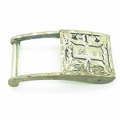 Mexico 925 Sterling Silver Vintage Floral Design Narrow Belt Buckle 21.2g