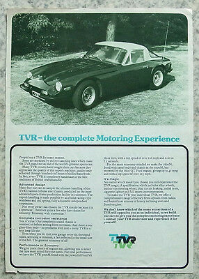 TVR 1600M & 3000M Sports Cars Sales Specification Leaflet c1972