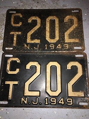 New Jersey License Plates 1949 Pair Rare Numbers