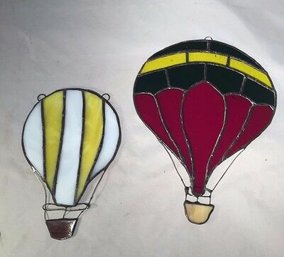 Pair of Vintage Stained Glass HOT AIR BALLOON SUNCATCHERS