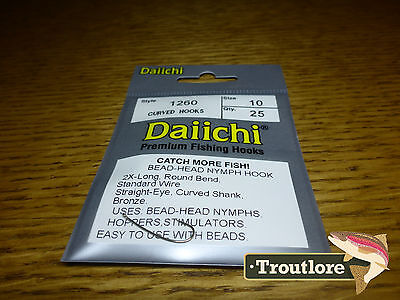 25 x DAIICHI 1260 #10 BEAD HEAD NYMPH, HOPPER & STIMULATOR HOOK NEW FLY TYING