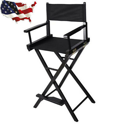 Professional Makeup Artist Directors Chair Wood Light Weight And Foldable Black