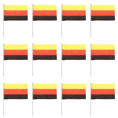 Germany Flag German National Flags Hand Waving Banners w/ Flagpoles 12Pcs