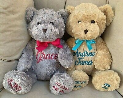 Personalised Large Teddy Bear Baby Gift Name Bear - see listing for Bear Styles