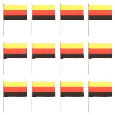 Pack of 12pcs German National Flags Germany Hand Waving Banners With Poles