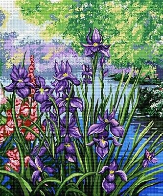 Hudemas Iris Needlepoint Canvas #078-30x35 cm (12x13.75 Inches)