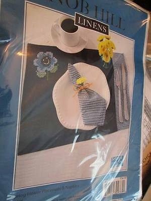 Nob Hill Spring Flower Placemats & Napkins Stamped Cross Stitch Kit-Includes 2 P