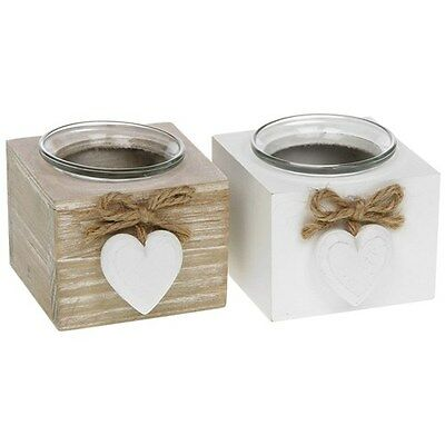 Provence heart Single t tea light Holders shabby chic vintage white gift candle