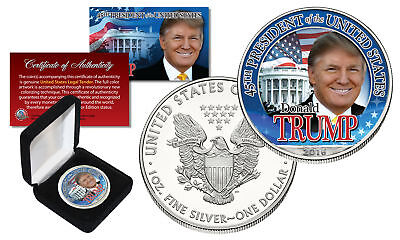 DONALD TRUMP 45th President 2016 1 oz PURE SILVER AMERICAN US EAGLE w/Deluxe Box