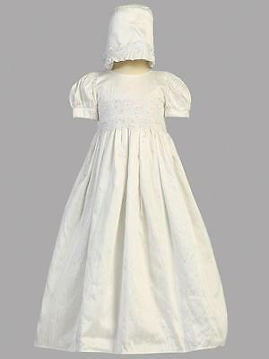 Baby Girls Silk and Sequined Christening Gown & Bonnet, Isabel