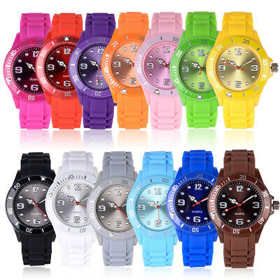 Classico Colorato Silicone Gel Cinturino Unisex Donna Ragazze Orologio Da Polso